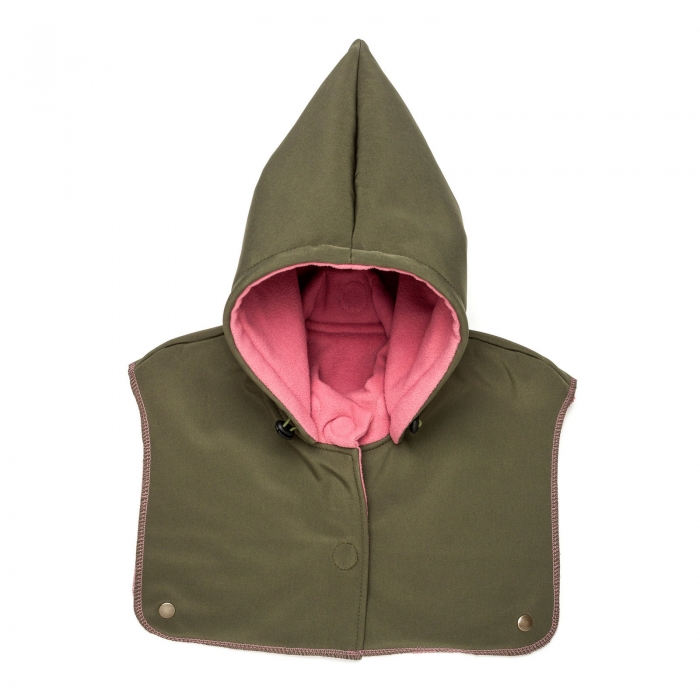 Glugă și fular de încălzire a gâtului pentru bebeluși Liliputi - Olive-Pink