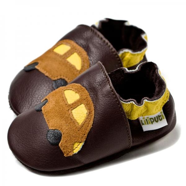 Pantofi cu talpă moale Liliputi® - Brown cars bi-turbo