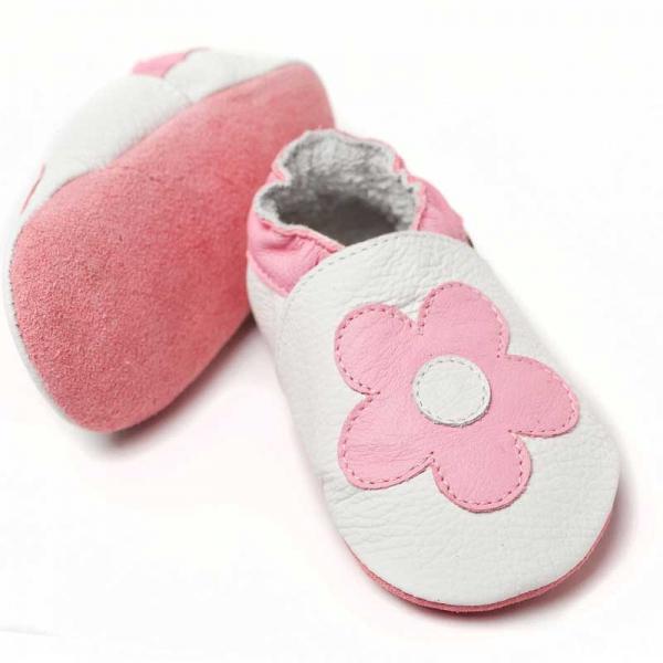 Pantofi cu talpă moale Liliputi® - Pink Flowers