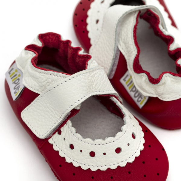 Sandale cu talpă moale Liliputi® - Red Rose